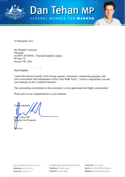 Letter from Dan Tehan, MP