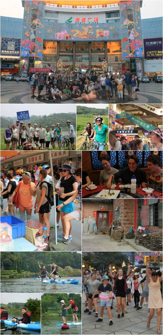 VYLC students in Zengcheng, canoeing in the lagoon, and exploring nearby villages by bike