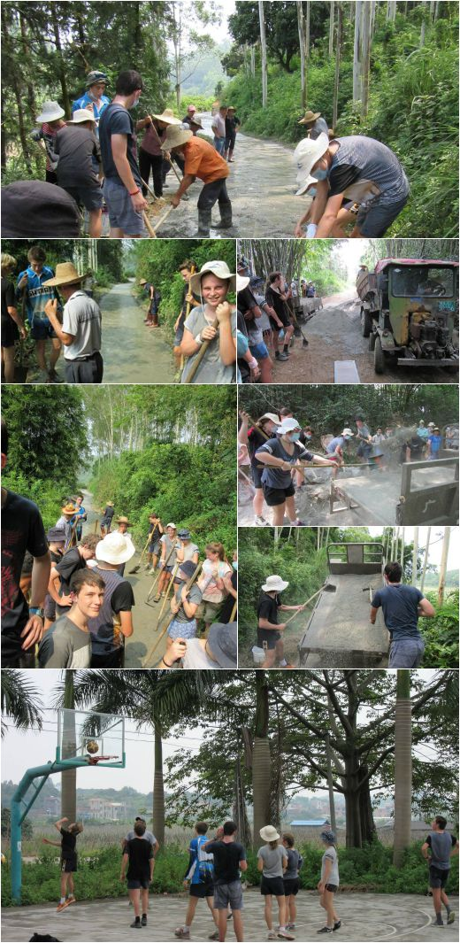 VYLC students help villagers build a path