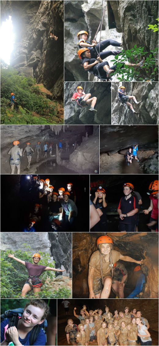 VYLC students caving and abseiling in Yangshuo